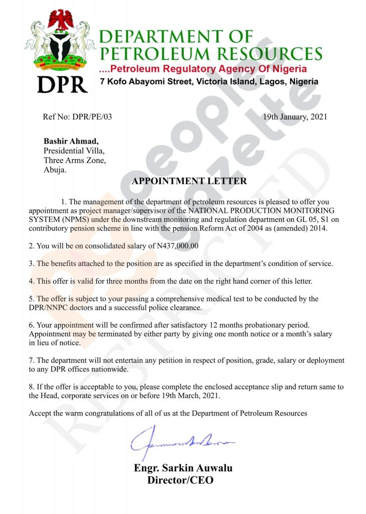Bashir Ahmad's Alleged Appointment Letter As Manager At DPR Leaked - Vantage News Nigeria