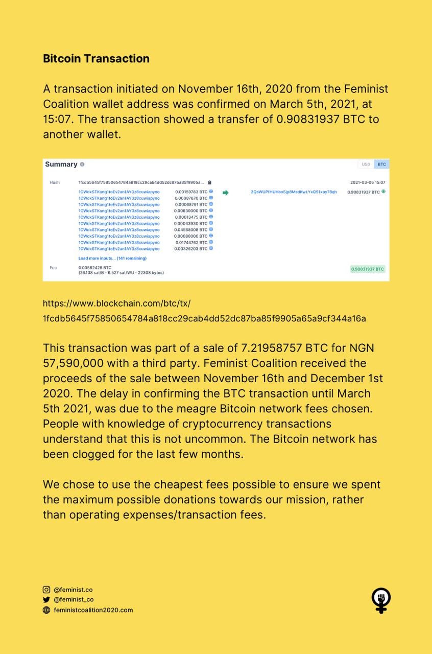 The Feminist Coalition Rejects Allegation It Stole $51,000 Worth Of Bitcoin Donated For #EndSARS - Vantage News Nigeria