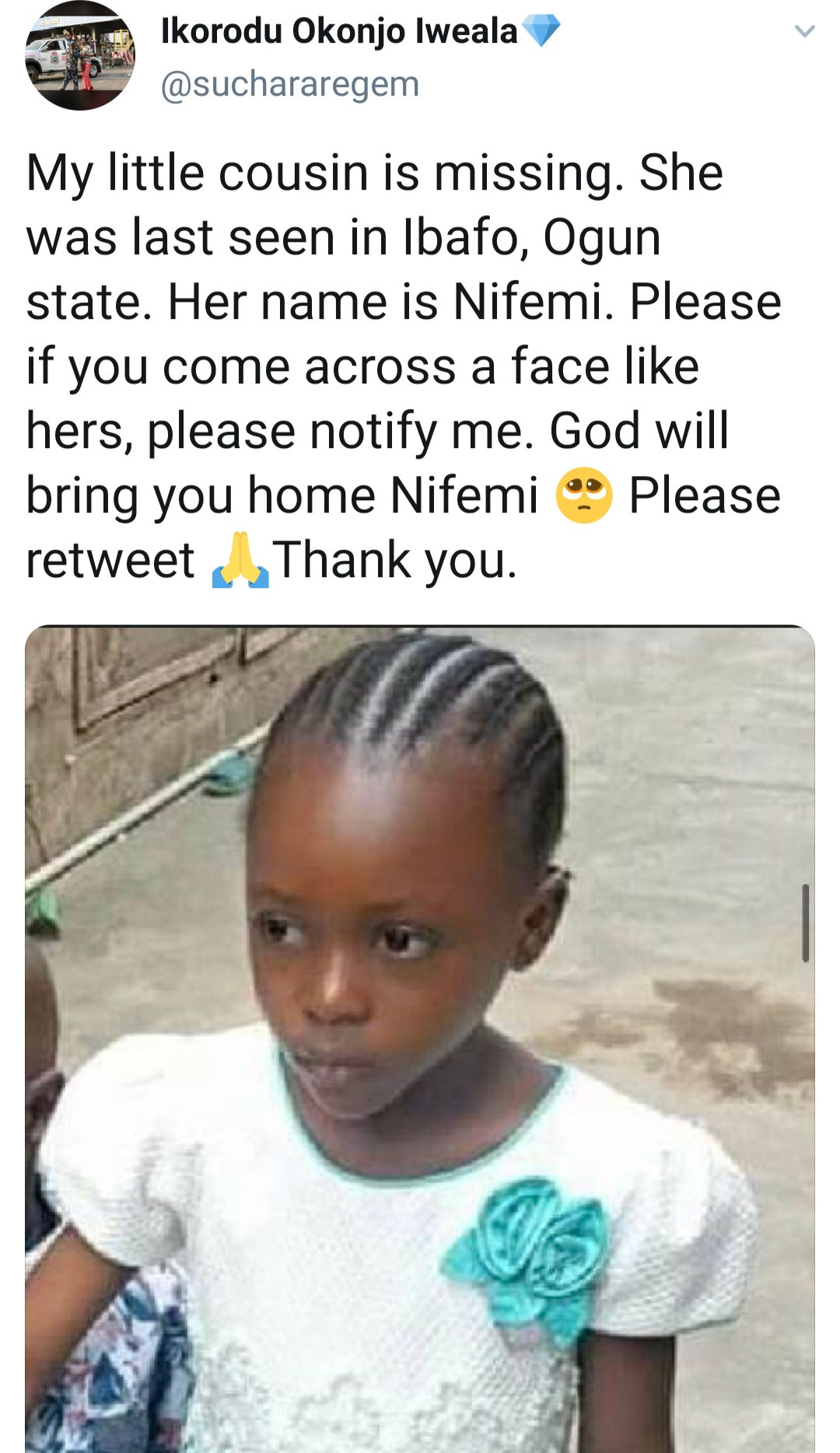 Little Girl Goes Missing After Men Asking For Directions Took Her Away - Vantage News Nigeria