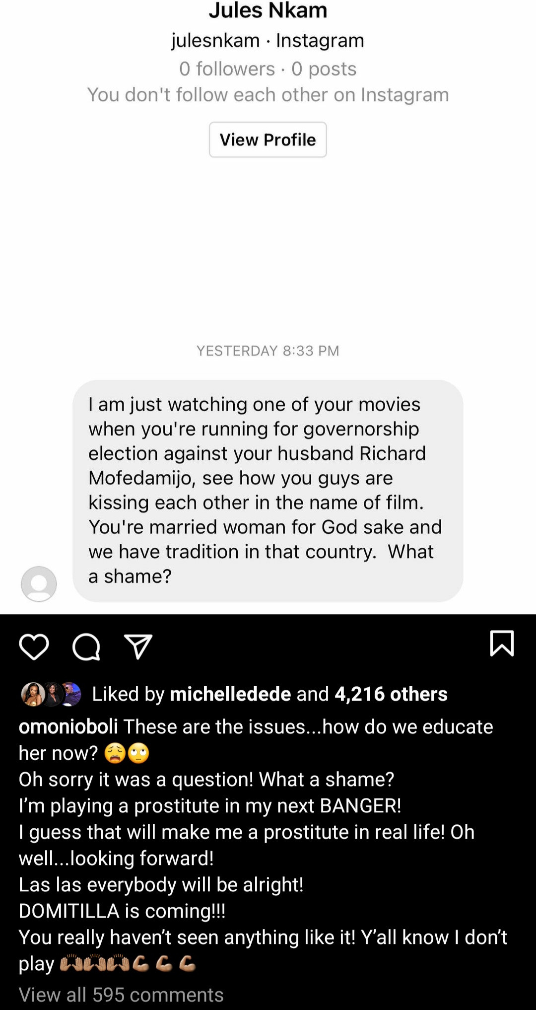 Omoni Oboli Responds To Critic Calling Her Out For Kissing RMD Passionately On TV Despite Being Married - Vantage News Nigeria