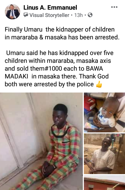 Arrested Kidnapper Confesses To Selling Children For N1000 Each In Nasarawa State - Vantage News Nigeria