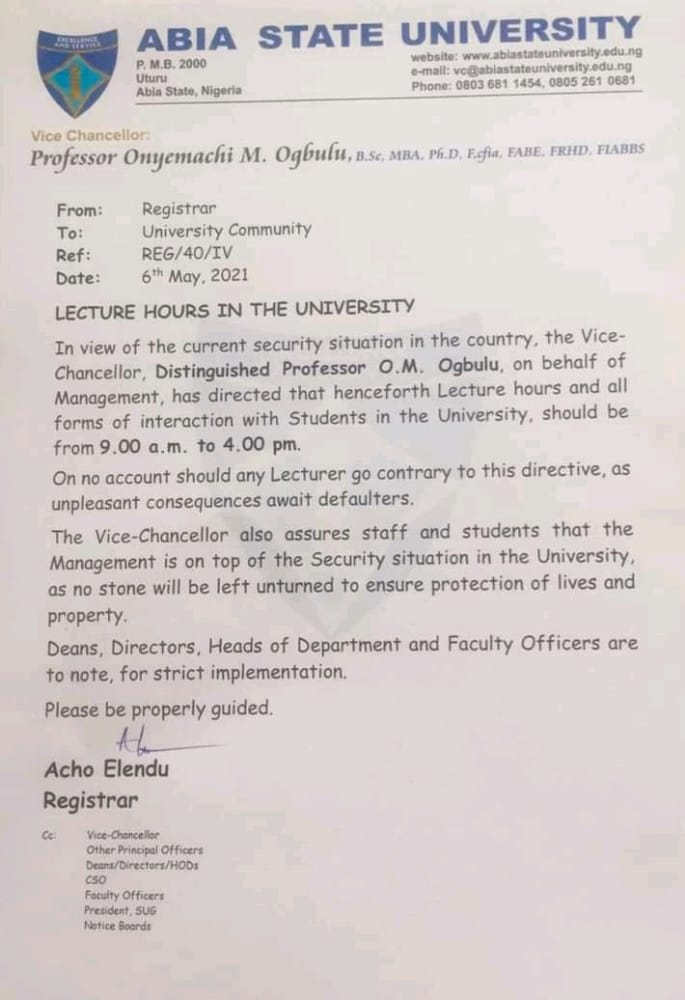 Abia Varsity Adjusts Lecture Hours Over Insecurity - Vantage News Nigeria