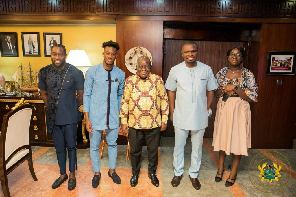 Photos: Hudson-Odoi Visits President Of Ghana, Could Switch Nationality To Play For Black Stars - Vantage News Nigeria